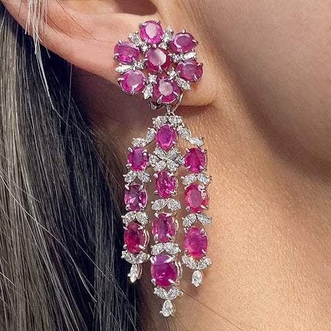 Ruby (no heat) & Diamond Day to Night Drop Earrings sold by Doyle and Doyle an antique and vintage jewelry boutique
