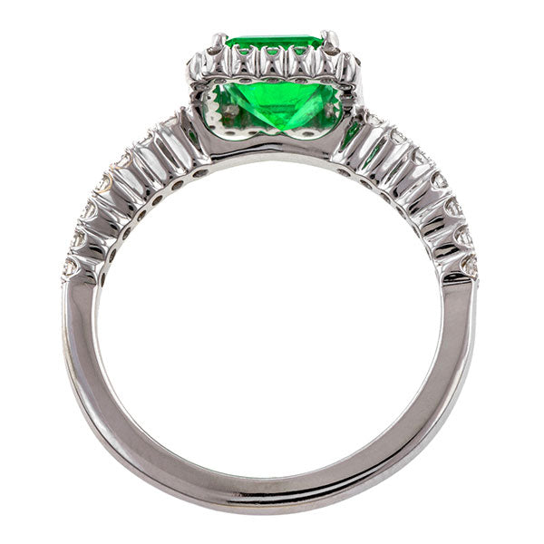 Estate Emerald & Diamond Ring::