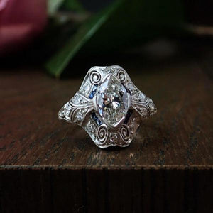 Art Deco Engagement Ring, Marquise Diamond, sold by Doyle & Doyle an antique and vintage jewelry store.