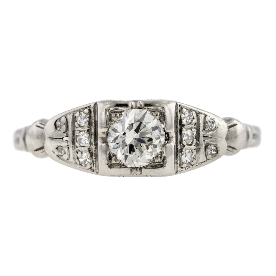 Art Deco ring; a Platinum Round Brilliant Cut Diamond Engagement Ring sold by Doyle & Doyle vintage and antique jewelry boutique.