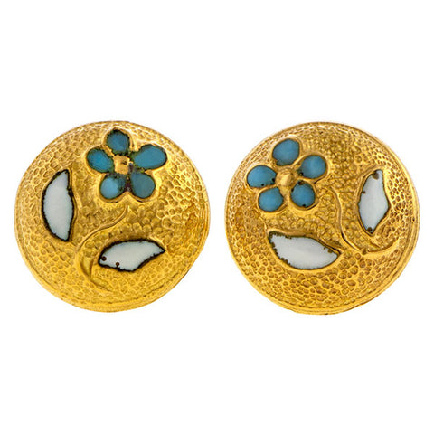 Antique Enamel* Forget Me Not Earrings