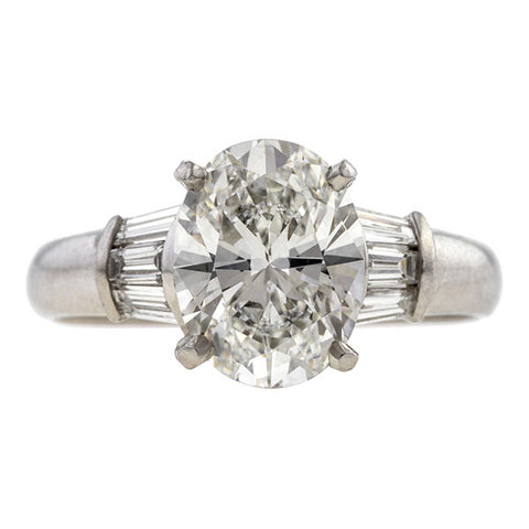 Vintage Oval Cut Diamond Engagement Ring, 2.07ct