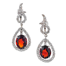 Estate Garnet & Diamond Drop Earrings