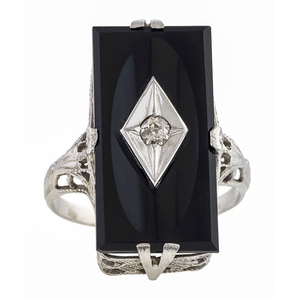 Art Deco Onyx & Diamond Dinner Ring