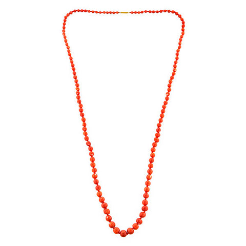 Antique Coral Bead Necklace, a necklace with coral beads and yellow gold clasp, sold by Doyle & Doyle vintage and antique jewelry boutique.