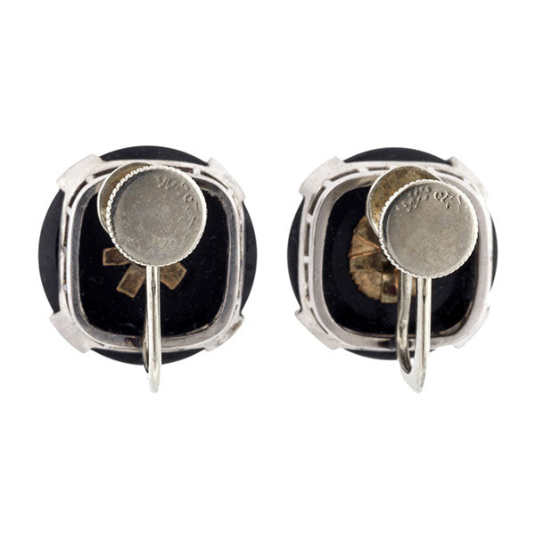 Art Deco Onyx & Pearl Earrings