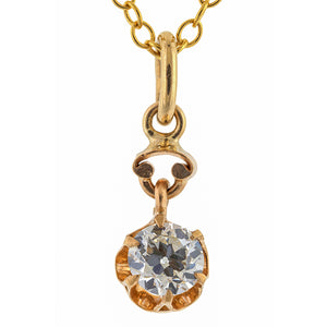 Antique Solitaire Old European Cut Diamond Necklace