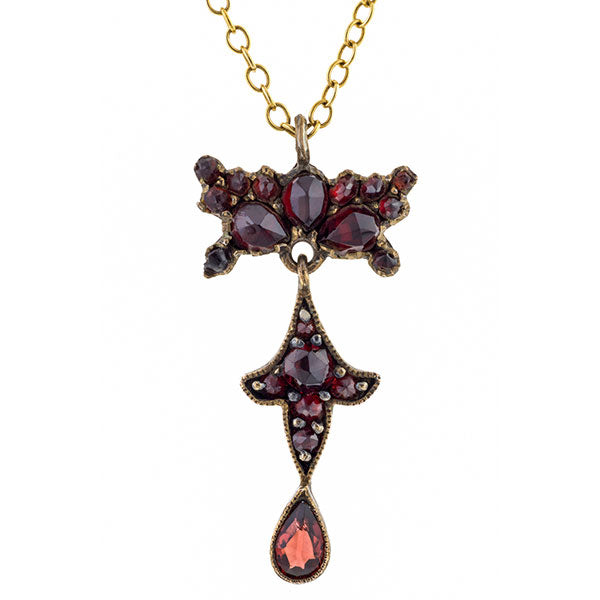 Victorian Bohemian Garnet Cluster Necklace