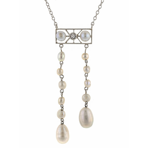 Edwardian Diamond & Pearl Lavalier Necklace