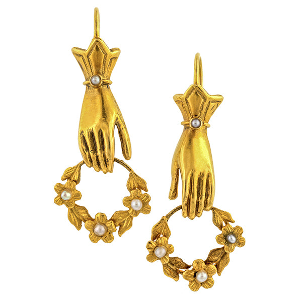Victorian Hand & Wreath Earrings