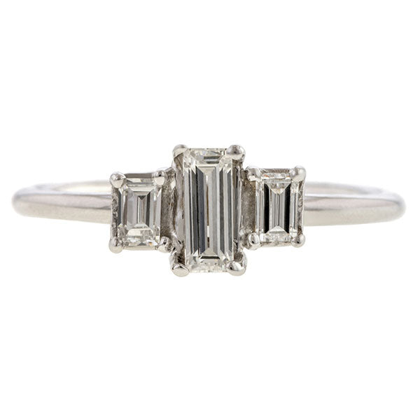 Estate Baguette Cut Diamond Ring, Baguette 0.22ct