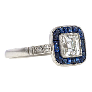 Art Deco Style Enagement Ring, Rectangular Diamond with Sapphire Frame, 0.69ct.