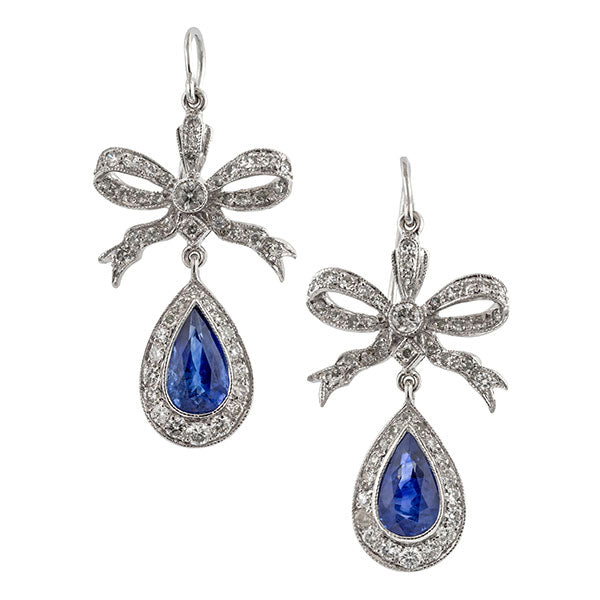 Estate Sapphire & Diamond Drop Earrings