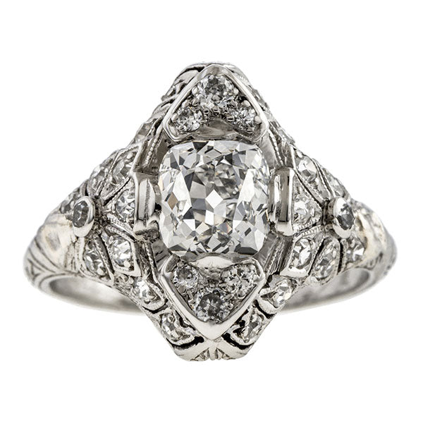 Art Deco Diamond Navette Ring, Cushion 1.32ct