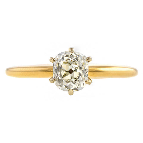 Vintage Solitaire Engagement Ring, Cushion cut Diamond, sold by Doyle & Doyle a vintage and antique jewelry boutique.