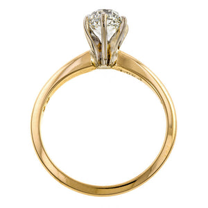 Vintage ring: a Yellow Gold Solitaire Cushion Cut Diamond Engagement Ring sold by Doyle & Doyle a vintage and antique jewelry boutique.
