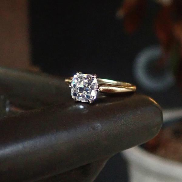 Vintage cushion cut diamond solitaire engagement ring Doyle & Doyle 107535R