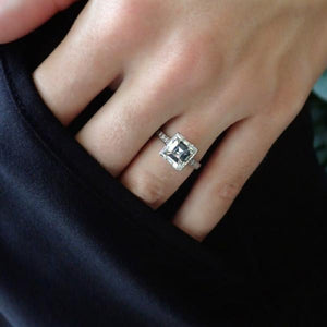 Art Deco square step cut diamond engagement ring Doyle & Doyle 107539R