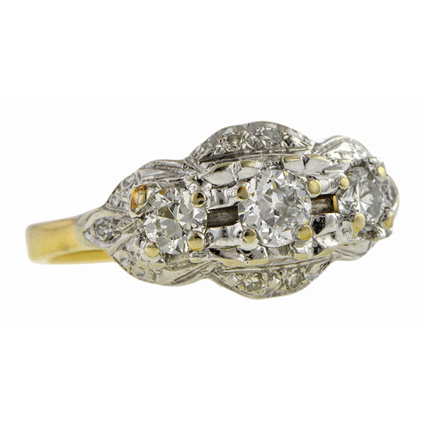 Vintage ring: a White Gold Old European Cut Three Diamond Ring sold by Doyle & Doyle vintage and antique jewelry boutique.