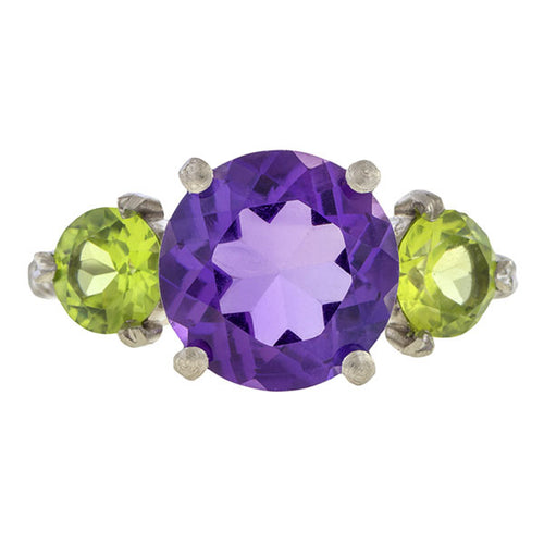Estate Amethyst & Peridot Ring