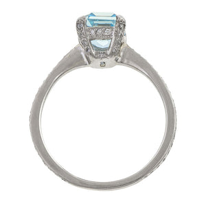 Estate Aquamarine & Diamond Ring