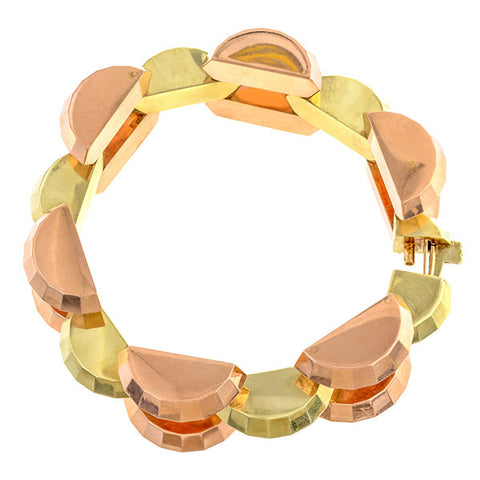 Retro Two-toned Faceted Link Bracelet