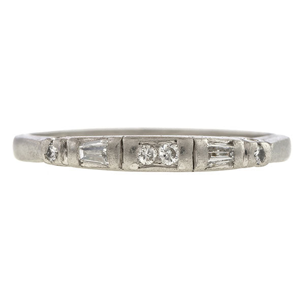 Baguette Wedding Band.Vintage Baguette Round Diamond Wedding Band