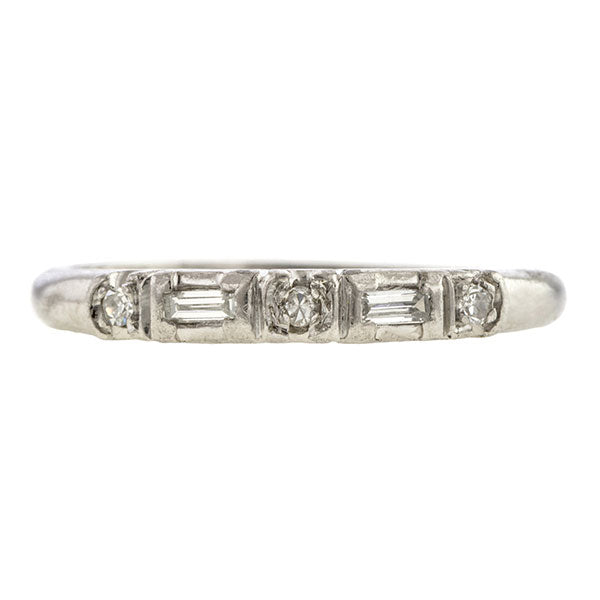 Vintage Baguette & Round Diamond Wedding Band Ring