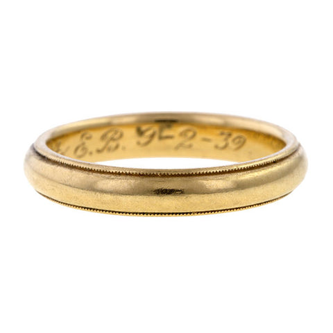 Vintage Gold Millegrained Wedding Band Ring