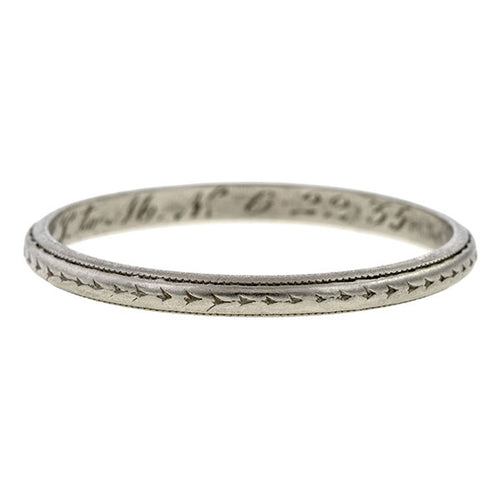 Vintage Patterned Wedding Band Ring