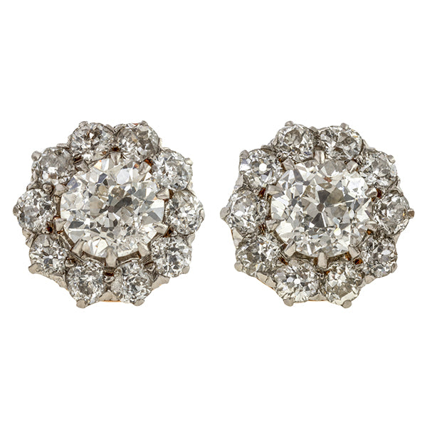Antique Old European Cut Diamond Cluster Earrings