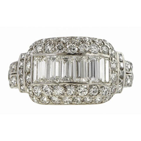 Art Deco Baguette and French Cut Diamond Ring from Doyle & Doyle 107621R