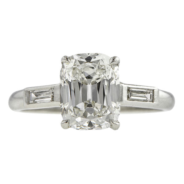 Vintage Cushion Cut Diamond Engagement Ring, 2.09