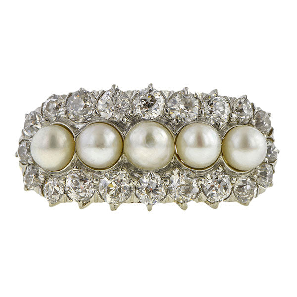 Edwardian Pearl & Diamond Ring