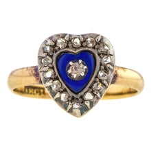 Georgian Diamond & Enamel Heart Ring