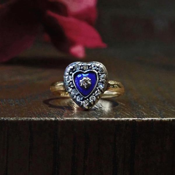 Georgian blue enamel and diamond heart ring Doyle & Doyle 107645R