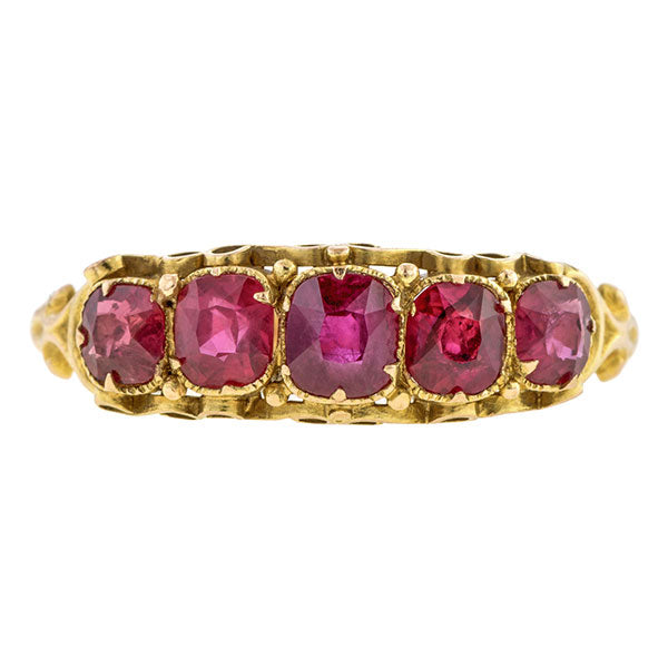 Victorian Ruby Five Stone Ring
