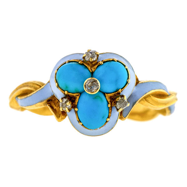 Antique Diamond Turquoise Enamel Ring