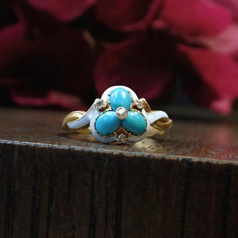 Antique turquoise enamel and diamond trefoil ring Doyle & Doyle 107650R