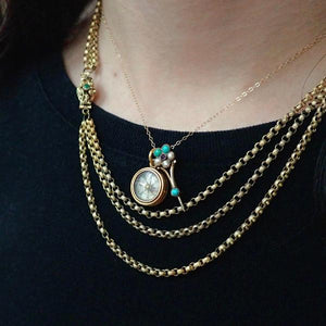 Victorian layered antique gold necklaces, Georgian chain, compass pendant, Halley's Comet pin from Doyle & Doyle 107658N 107656P 107655N