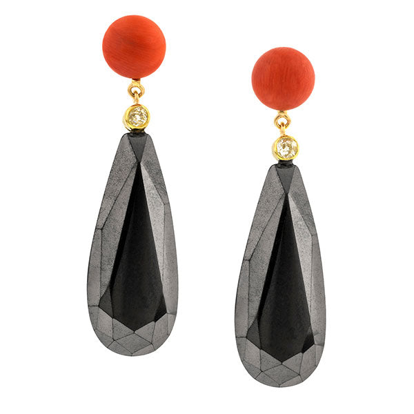 Coral, Diamond & Hematite Earrings