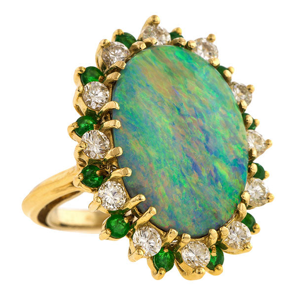 Vintage Opal, Diamond & Emerald Ring