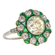 Art Deco Diamond & Emerald Engagement Ring