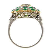 Art Deco Engagement Ring, Old European Cut Diamond & Emerald, sold by Doyle & Doyle an antique and vintage jewelry store.
