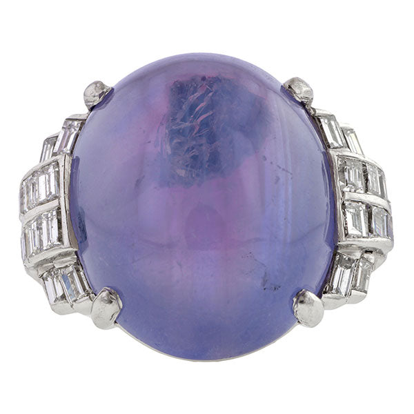 Art Deco Star Sapphire & Diamond Ring