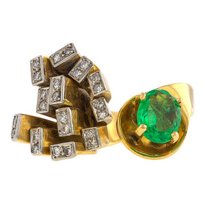 Brutalist Emerald & Diamond Ring