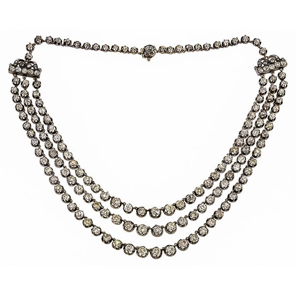 Victorian Diamond Triple Strand Necklace