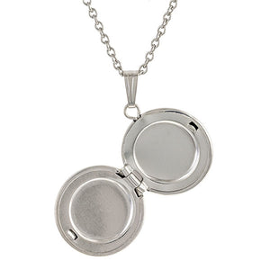 Petite Silver Round Locket Necklace