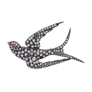 Victorian Swallow Diamond Brooch