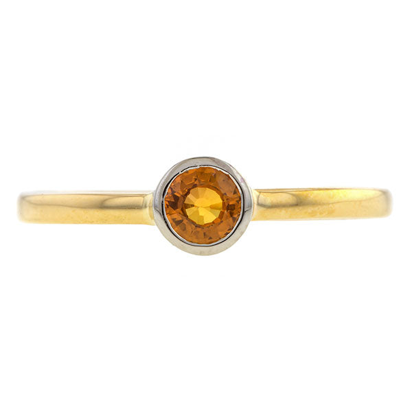 Bezel Set Orange Sapphire Ring,0.36ct., Heirloom by Doyle & Doyle